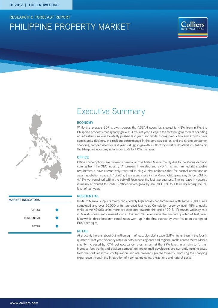 Q1 2012   the knowledgeresearch & forecast reportpHILIPPINE PROPERTY MARKET                             Executive Summary ...