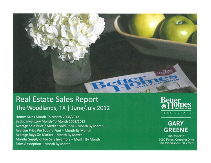 Real estate market report collection The Woodlands TX  July August 2012