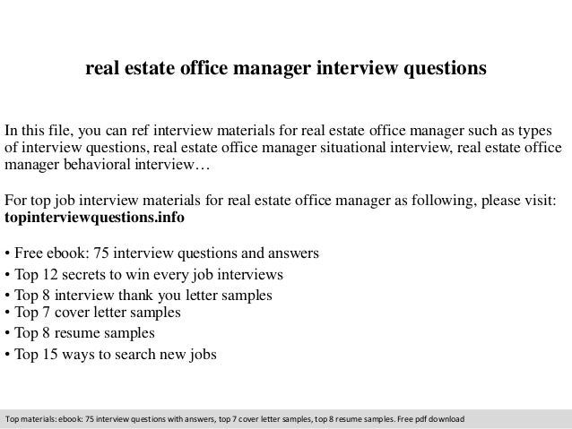 Real Estate Office Manager Interview Questions