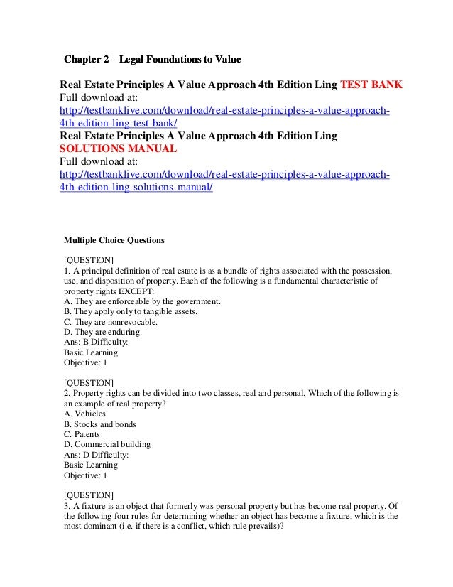 Real estate principles a value approach 4th edition ling test bank