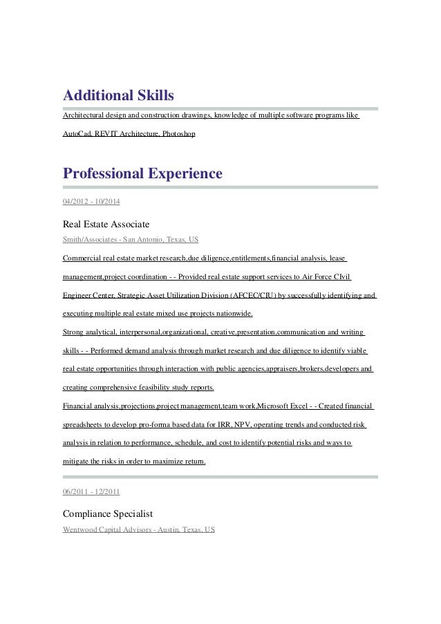 real estate professional resume