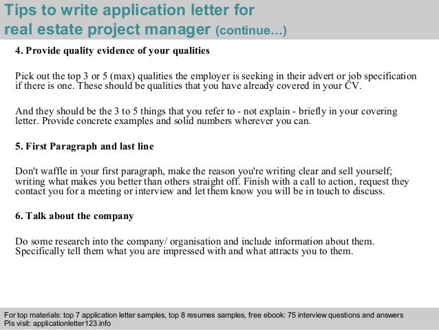Real estate project manager application letter