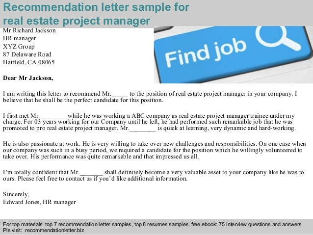 Real estate project manager recommendation letter