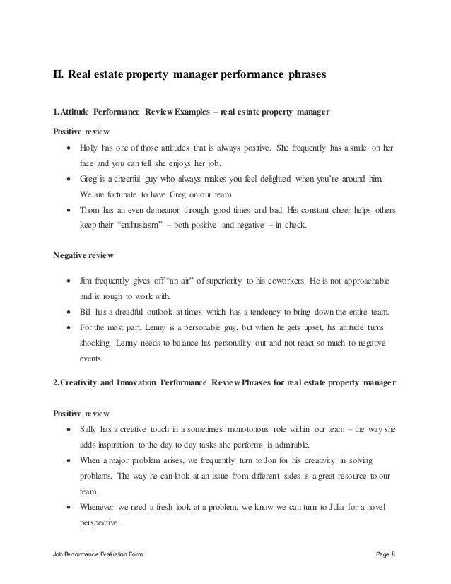 job performance evaluation form page 8 ii real estate property manager - Real Estate Property Manager Job Description