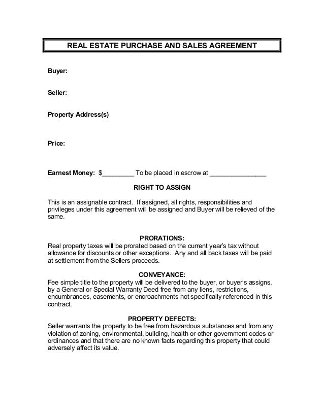 Real Estate Purchase And Sales Agreement [Parachute]