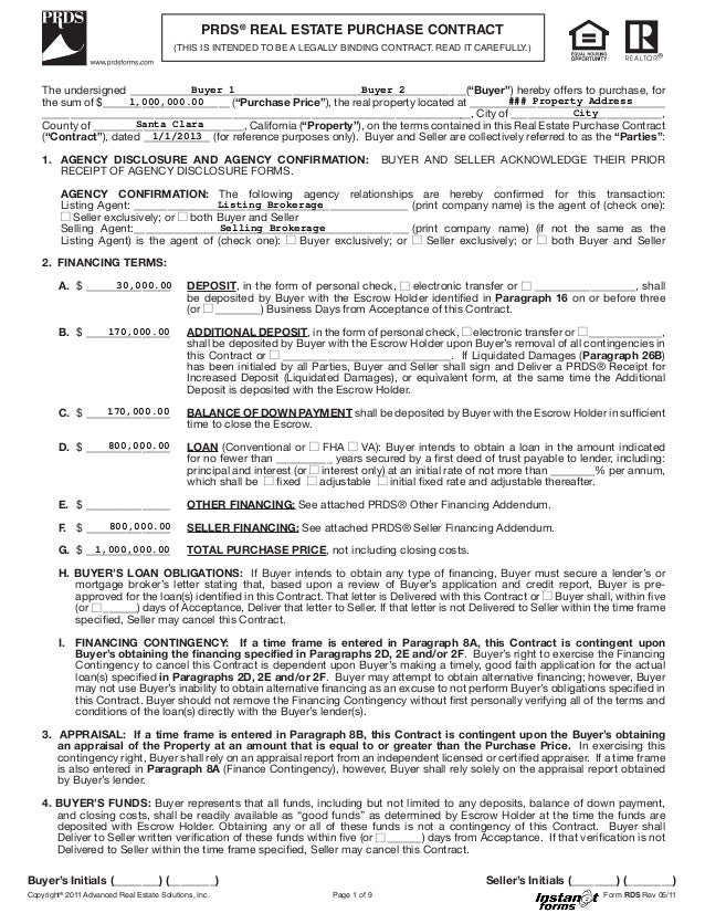 Real estate purchase contract rds rev 05 11 prds real estate purchase contract this is spiritdancerdesigns Image collections