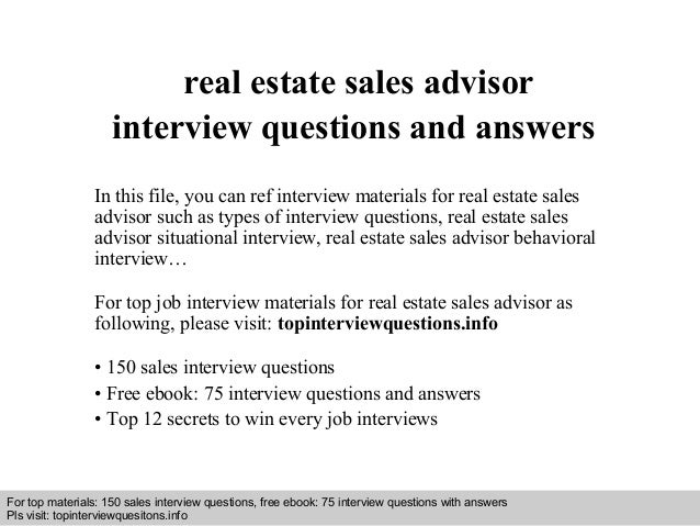 real estate sales advisor interview questions and answers