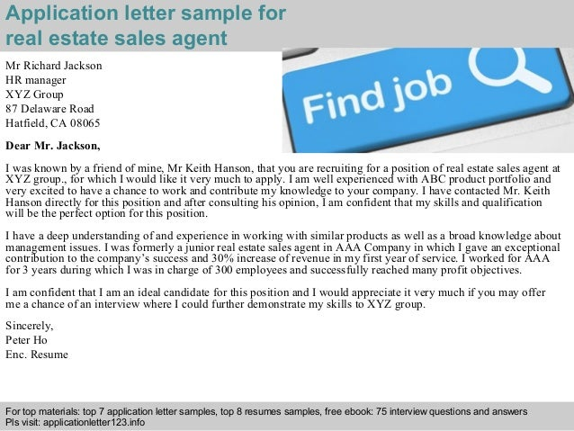 Real Estate Sales Agent Application Letter