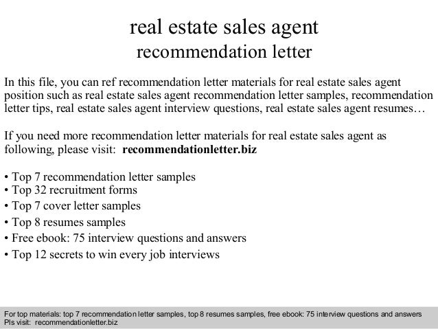 real estate sales agent recommendation letter in this file you can ref recommendation letter materials - Cover Letter For Real Estate Job