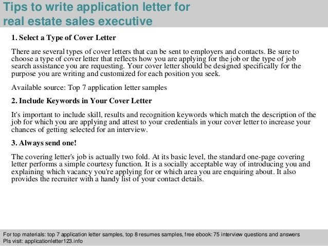 ... 3. Tips to write application letter for real estate sales executive ...