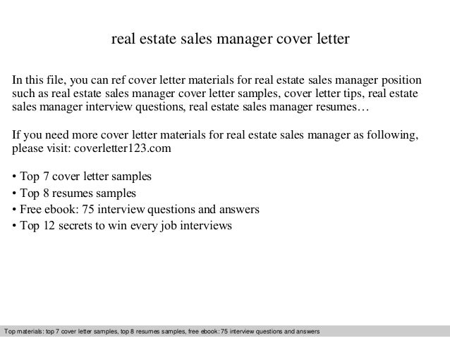 Real Estate Sales Manager Cover Letter In This File You Can Ref Materials