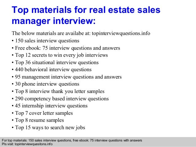 Real estate sales manager interview questions and answers