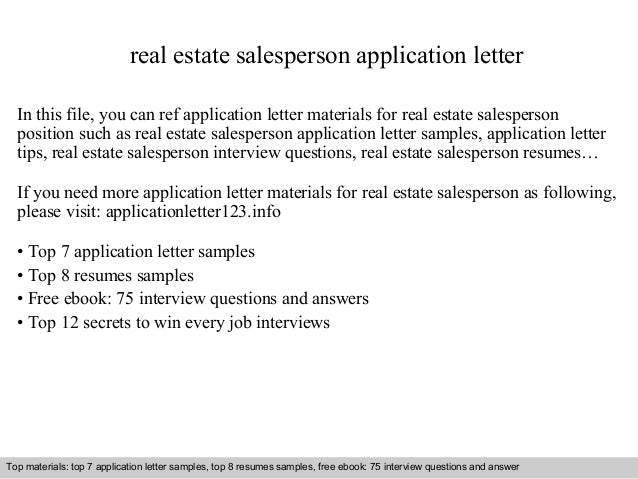 Real Estate Salesperson Application Letter In This File, You Can Ref Application  Letter Materials For ...  Salesperson Cover Letter