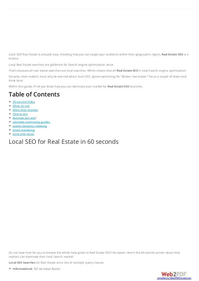 Local SEO Real Estate is actually easy. Knowing how you can target your audience within their geographic region, Real Esta...