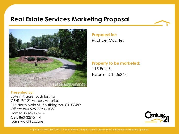 <ul><li>Prepared for: </li></ul><ul><li>Michael Coakley </li></ul><ul><li>Property to be marketed: </li></ul><ul><li>115 E...