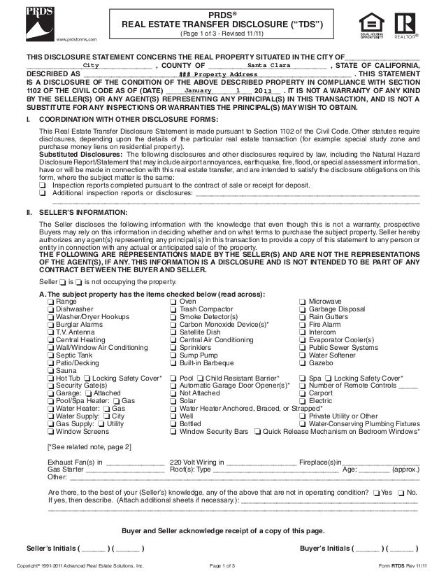 Real Estate Property Disclosure Form