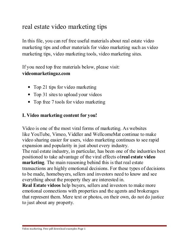 real estate video marketing tips  In this file, you can ref free useful materials about real estate video  marketing tips ...