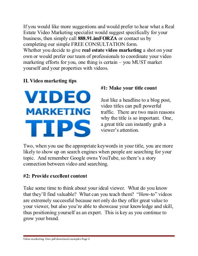 If you would like more suggestions and would prefer to hear what a Real  Estate Video Marketing specialist would suggest s...