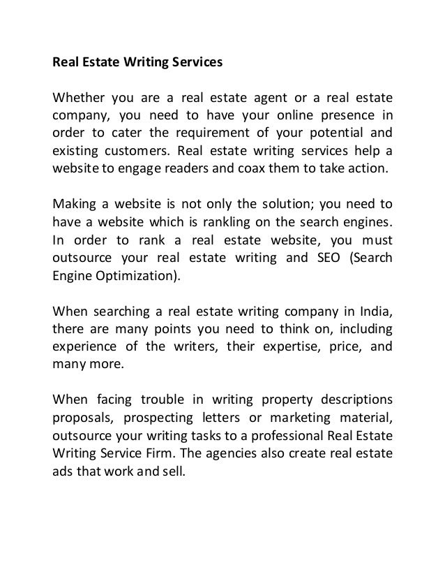 Real estate writing