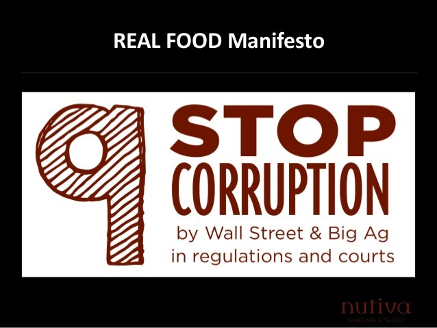 """food manifesto Congressman tim ryan's food manifesto  """" —mark hyman, md, in the preface to the real food revolution we americans love our food food is a part of what has made this nation great—and it's one of the seven timeless truths of spa our fertile farmlands and the abundance and variety of our agriculture output are the envy of the world."""