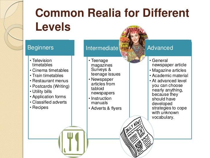 Common Realia for Different  LevelsBeginners               Intermediate          Advanced• Television             • Teenag...