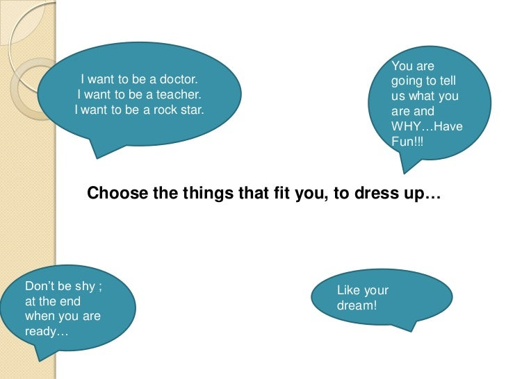 You are          I want to be a doctor.                      going to tell         I want to be a teacher.                ...