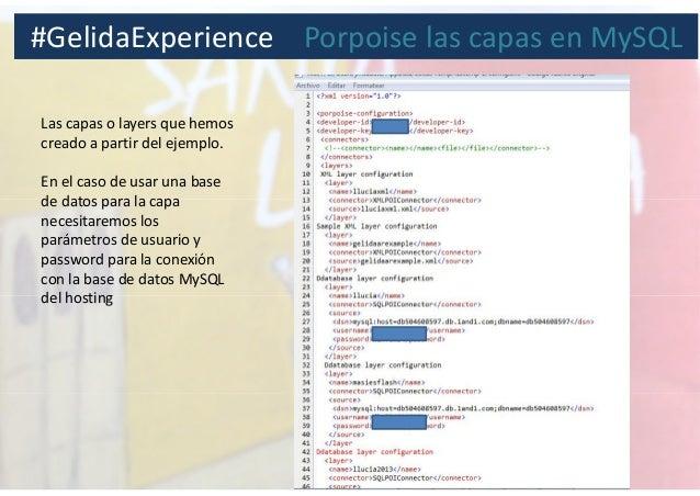 Las capas o layers que hemos creado a partir del ejemplo. En el caso de usar una base de datos para la capa necesitaremos ...