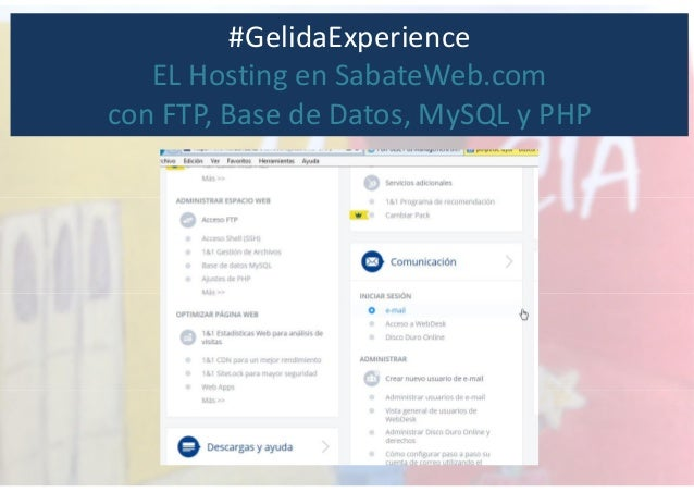 #GelidaExperience EL Hosting en SabateWeb.com con FTP, Base de Datos, MySQL y PHP