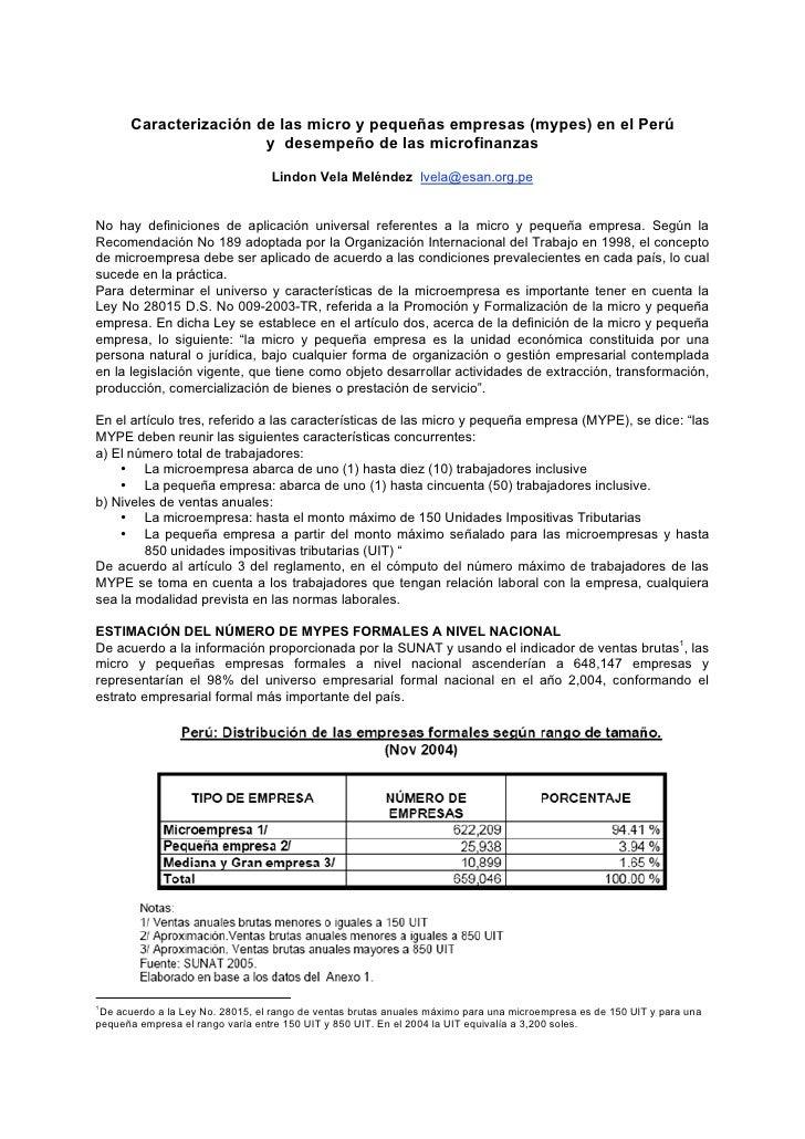 Caracterización de las micro y pequeñas empresas (mypes) en el Perú                       y desempeño de las microfinanzas...