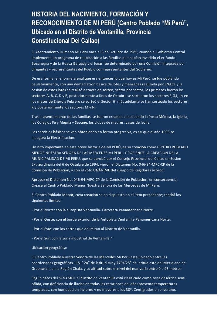 """HISTORIA DEL NACIMIENTO, FORMACIÓN Y RECONOCIMIENTO DE MI PERÚ (Centro Poblado """"Mi Perú"""", Ubicado en el Distrito de Ventan..."""