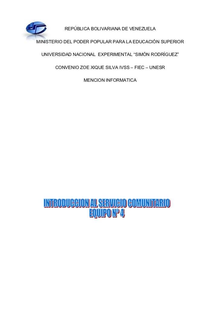 REPÚBLICA BOLIVARIANA DE VENEZUELAMINISTERIO DEL PODER POPULAR PARA LA EDUCACIÓN SUPERIOR UNIVERSIDAD NACIONAL EXPERIMENTA...