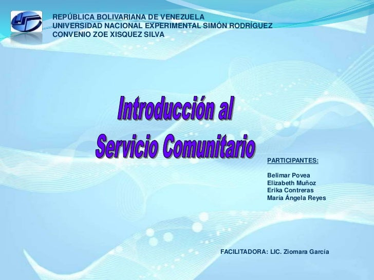 REPÚBLICA BOLIVARIANA DE VENEZUELA<br />UNIVERSIDAD NACIONAL EXPERIMENTAL SIMÓN RODRÍGUEZ<br />CONVENIO ZOE XISQUEZ SILVA<...