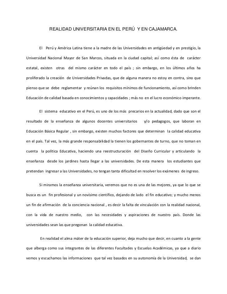 REALIDAD UNIVERSITARIA EN EL PERÚ  Y EN CAJAMARCA.<br />        El   Perú y América Latina tiene a la madre de las Univers...