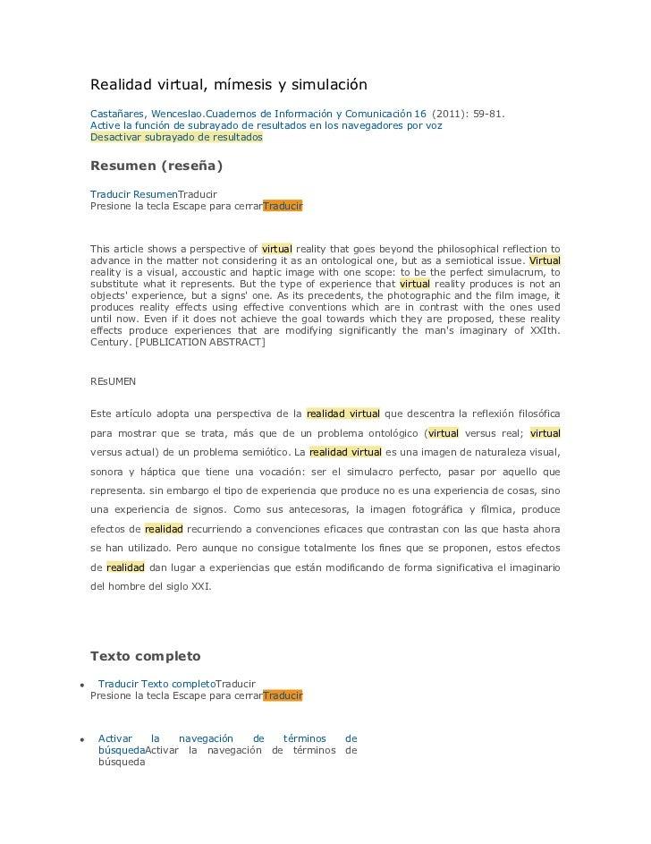 Realidad virtual, mímesis y simulación    Castañares, Wenceslao.Cuadernos de Información y Comunicación 16 (2011): 59-81. ...