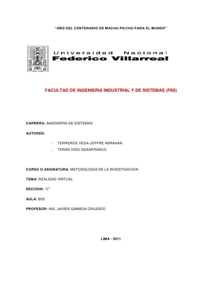"""""""AÑO DEL CENTENARIO DE MACHU PICCHU PARA EL MUNDO""""            FACULTAD DE INGENIERIA INDUSTRIAL Y DE SISTEMAS (FIIS)CARRER..."""