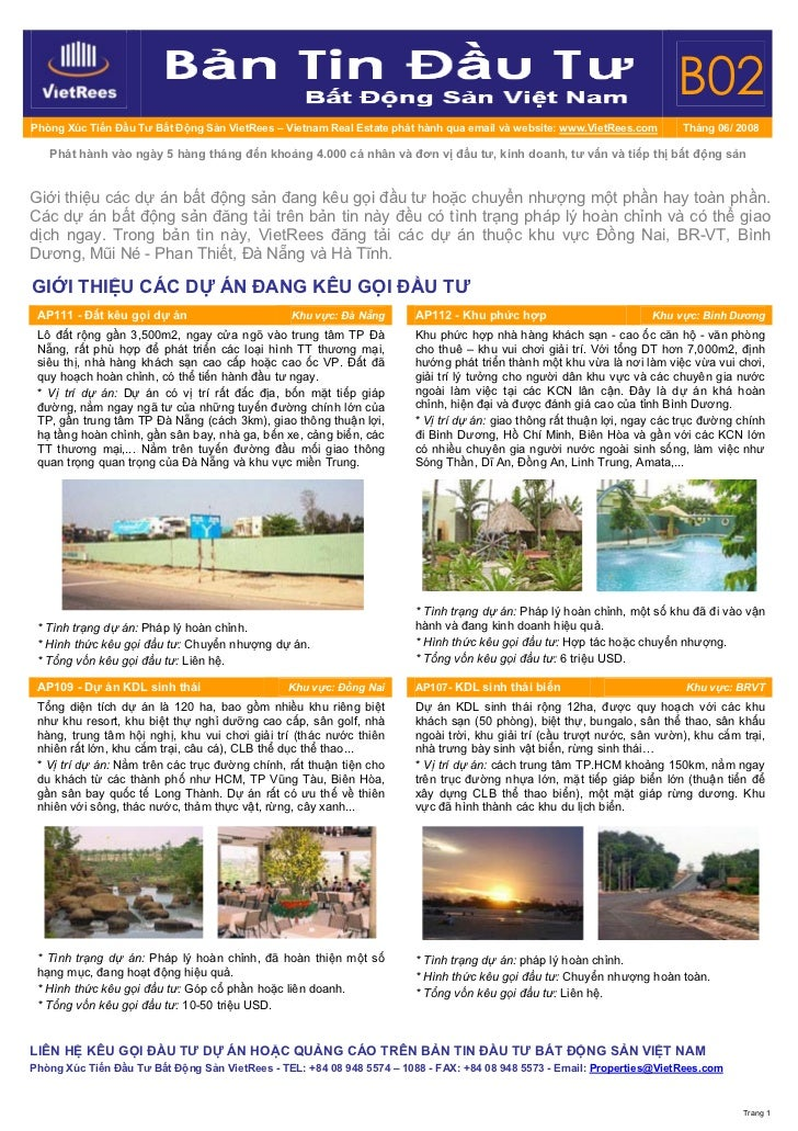 B02 Phòng Xúc Tiến Đầu Tư Bất Động Sản VietRees – Vietnam Real Estate phát hành qua email và website: www.VietRees.com    ...