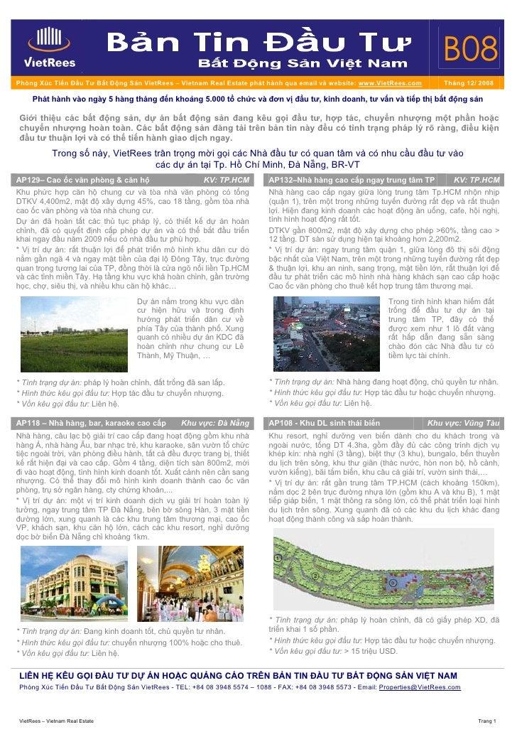 B08 Phòng Xúc Tiến Đầu Tư Bất Động Sản VietRees – Vietnam Real Estate phát hành qua email và website: www.VietRees.com    ...