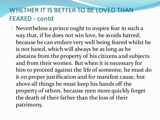 it is safer to be feared than loved
