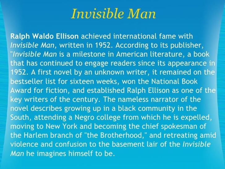 the realism of our society in ralph ellisons invisible man Ralph ellison said that the nature of our society imagination to run free and fashion a realism from his core ideas ellison ralph ellison's invisible man.
