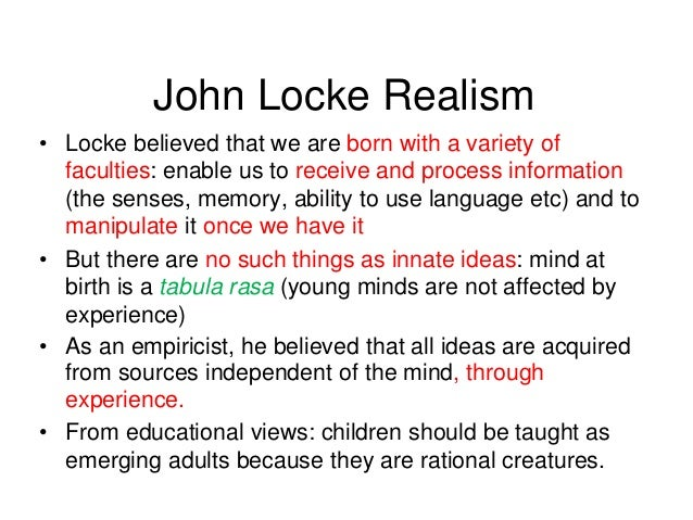 locke innate ideas Descartes and locke: a critical comparison  (locke, 25-26) there are no innate ideas present in the mind instead, the mind is a ``white paper,.