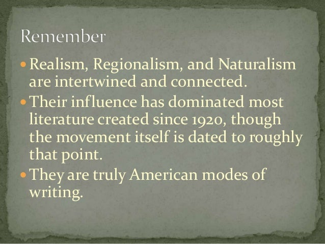 essay realism naturalism Naturalism is a movement in  in his 1880 essay entitled naturalism on the stage australian catholic university useful discussion on realism and naturalism in.