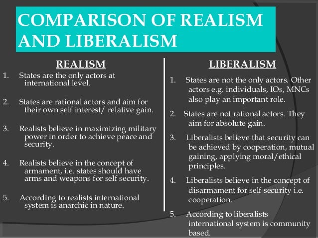 an introduction to the comparison of neorealist and liberalist The international system is not central to the view of liberals  allows  comparison and contrasts between systems comprehensiveness: it enables  scholars to.