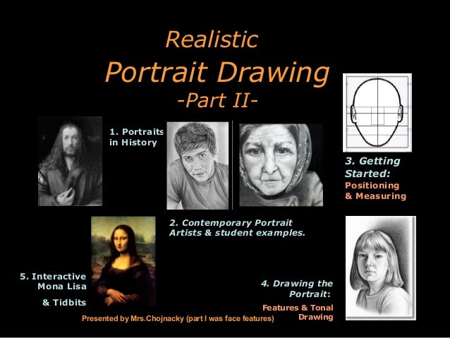 Realistic  Portrait Drawing -Part II-  1. Portraits in History  3. Getting Started: Positioning & Measuring 2. Contemporar...