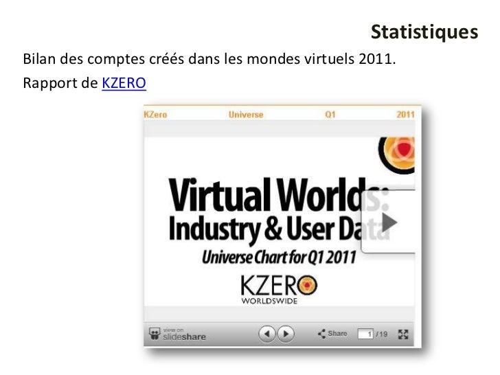 StatistiquesBilan des comptes créés dans les mondes virtuels 2011.Rapport de KZERO