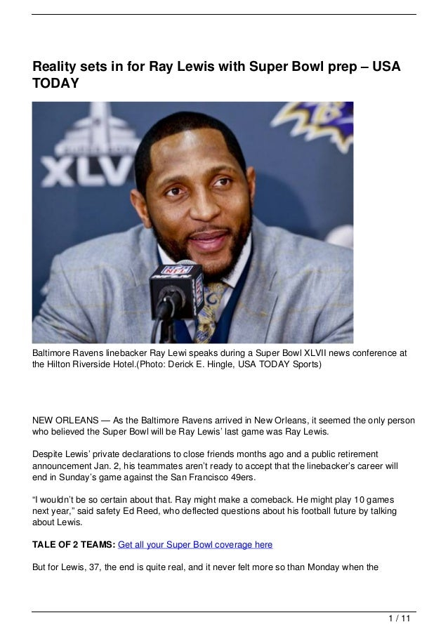 Reality sets in for Ray Lewis with Super Bowl prep – USATODAYBaltimore Ravens linebacker Ray Lewi speaks during a Super Bo...