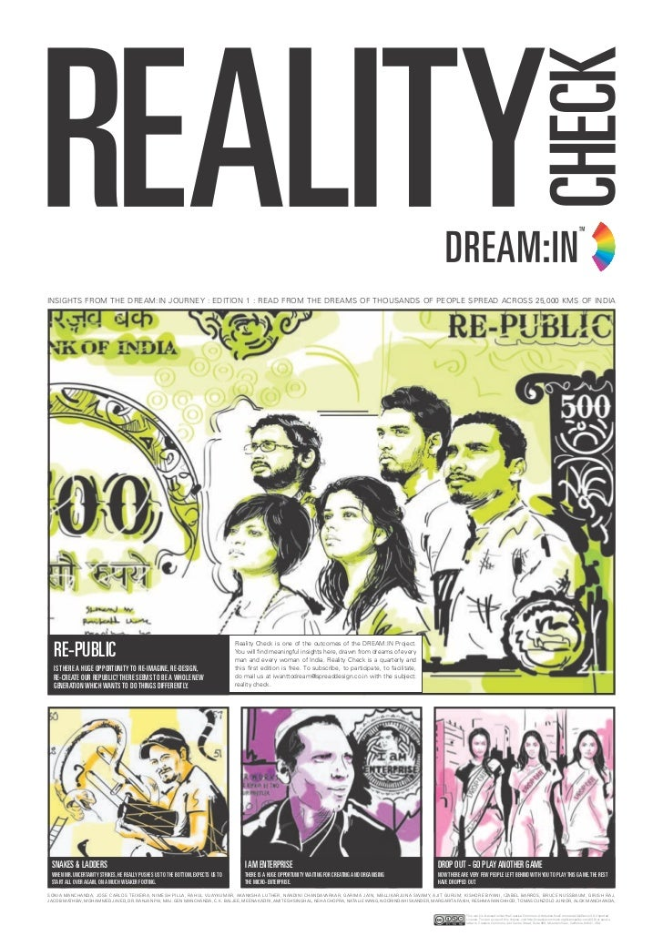 REALITY CHECK 1/8INSIGHTS FROM THE DREAM:IN JOURNEY : EDITION 1 : READ FROM THE DREAMS OF THOUSANDS OF PEOPLE SPREAD ACROS...