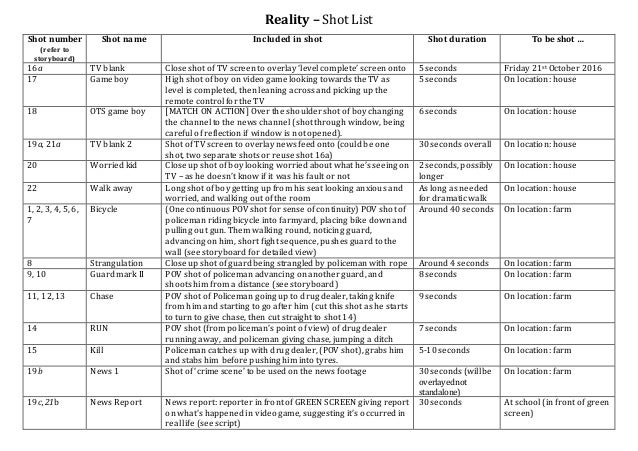 Reality U2013 Shot List Shot Number (refer To Storyboard) Shot Name Included In  Shot