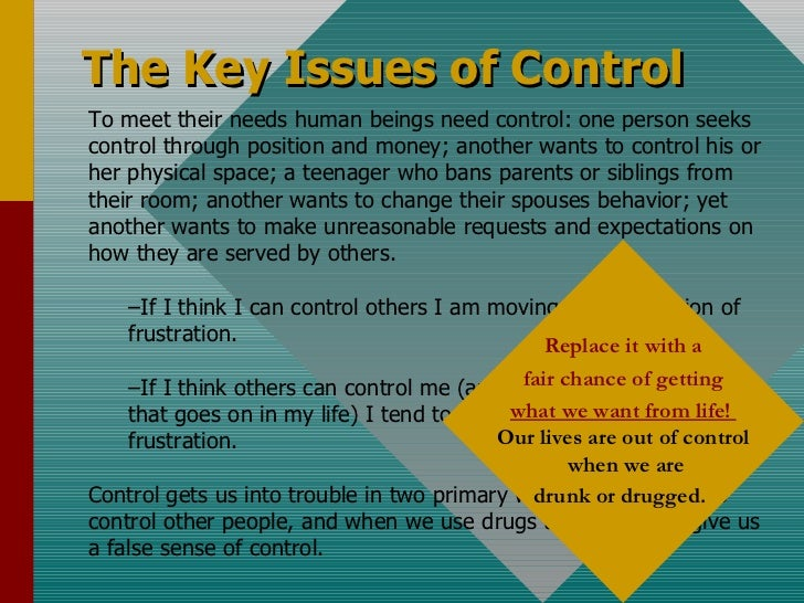 <ul><li>To meet their needs human beings need control: one person seeks control through position and money; another wants ...