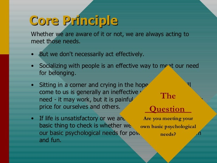 Core Principle <ul><li>But we don't necessarily act effectively. </li></ul><ul><li>Socializing with people is an effective...