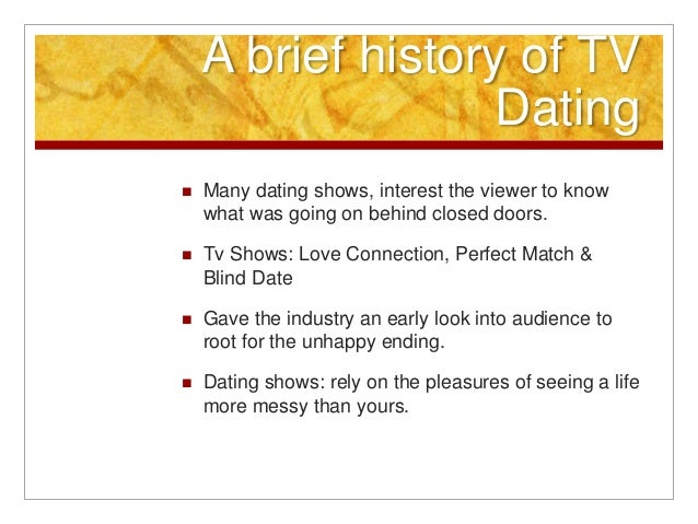 Reality dating shows history